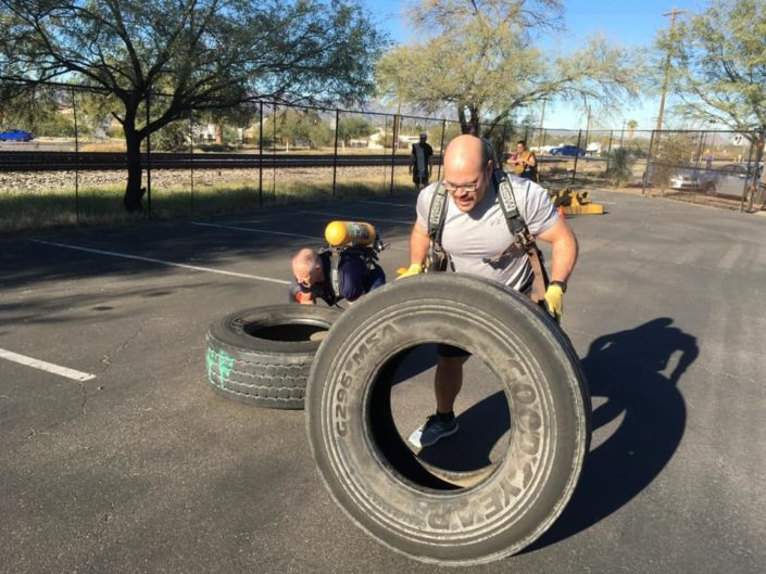 Flipping Tires during fire factory workout